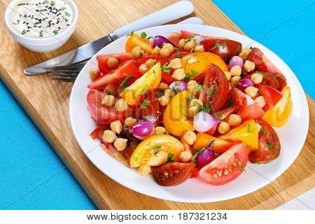 Salad With Chickpeas, Tomatoes Slice, Red Onion