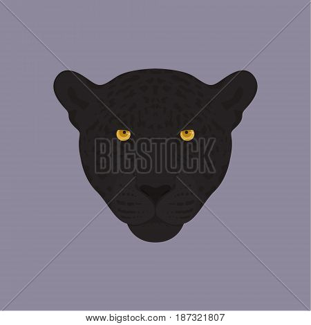 Head of a black panther with orange eyes. Vector illustration.