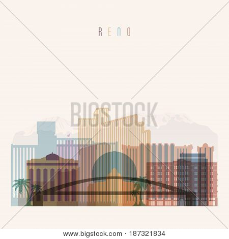 Transparent style. Reno state Nevada skyline detailed silhouette. Trendy vector illustration.