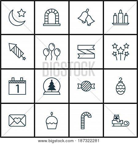 Set Of 16 Celebration Icons. Includes Toffee Candy, Blank Ribbon, Agenda Symbols. Beautiful Design Elements.