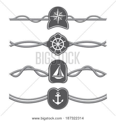 Marine ropes vector dividers and borders. Rope divider, marine rope line, rope dividers. Vector illustration.