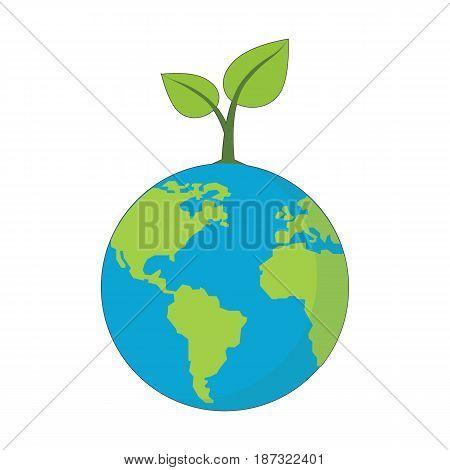 Eco Planet concept symbol over white background. Vector Illustration