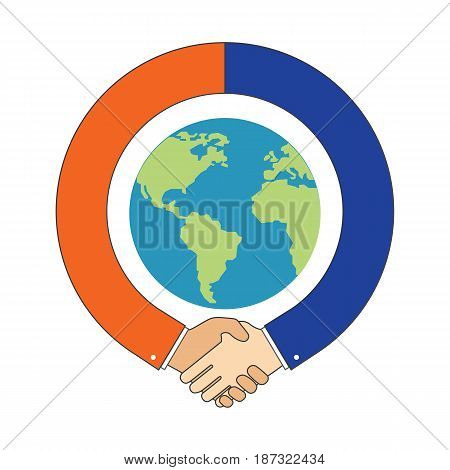 Handshake around Globe International Partnership symbol. Vector Illustration