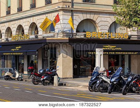 Geneva, Switzerland - 24 September, 2016: exterior of a Breitling store. Breitling SA is a Swiss watchmaker based in the town of Grenchen, it was founded in 1884 by Leon Breitling.