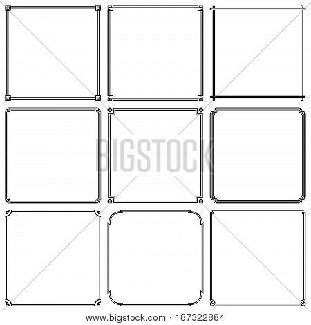 Nine simple square frame on white background