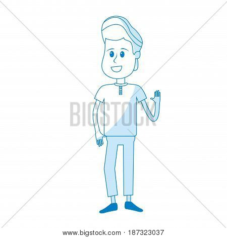 silhouette nice boy with hand up and casual wear, vector illustration