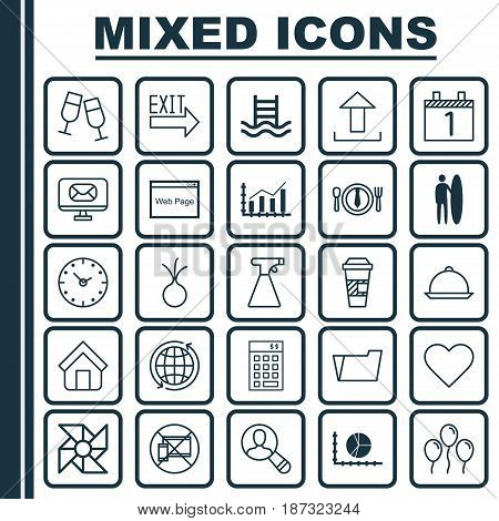 Set Of 25 Universal Editable Icons. Can Be Used For Web, Mobile And App Design. Includes Elements Such As Circle Graph, Surf-Board, Follow And More.