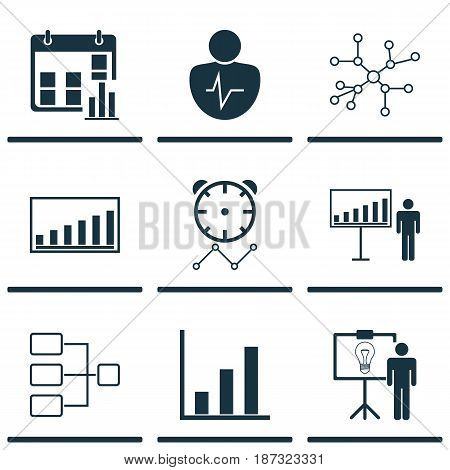 Set Of 9 Board Icons. Includes Company Statistics, System Structure, Reminder And Other Symbols. Beautiful Design Elements.
