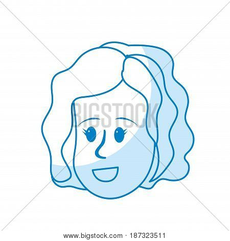 silhouette happy cute woman face with hairstyle, vector illustration