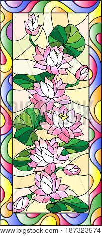 Illustration in stained glass style with flowers buds and leaves of Lotusvertical orientation