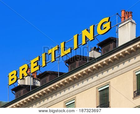 Geneva, Switzerland - 24 September, 2016: Breitling sign on the roof of a building. Breitling SA is a Swiss watchmaker based in the town of Grenchen, it was founded in 1884 by Leon Breitling.