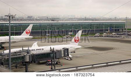Airplanes Dock At Haneda Airport In Tokyo, Japan