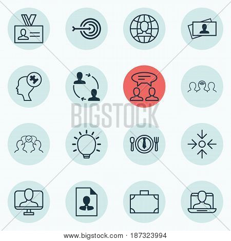 Set Of 16 Business Management Icons. Includes Arrow, Great Glimpse, Dialogue And Other Symbols. Beautiful Design Elements.