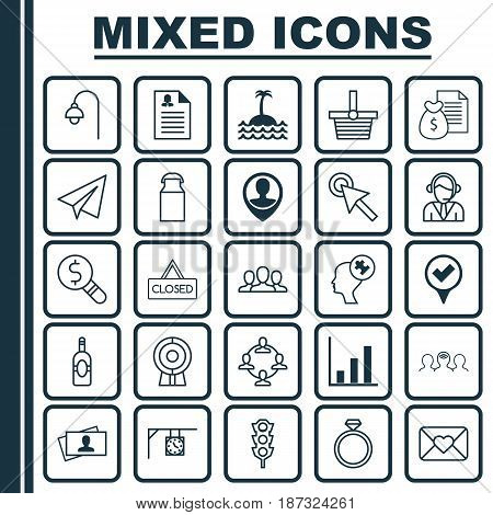 Set Of 25 Universal Editable Icons. Can Be Used For Web, Mobile And App Design. Includes Elements Such As Web Discussing, Female Application, Bar Chart And More.