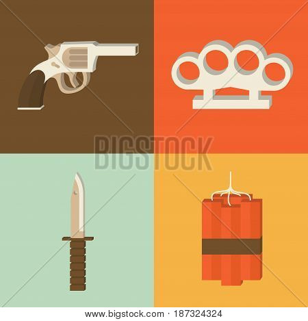 Vector flat illustration, icon set of weapon: gun, brass knuckles, knife dynamite