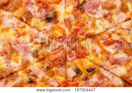 background pizza close up from above in studio