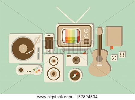 Vector flat illustration, icon set of lifestyle: turntable, game joystick, speaker, phone, photo camera, TV compass guitar book dice