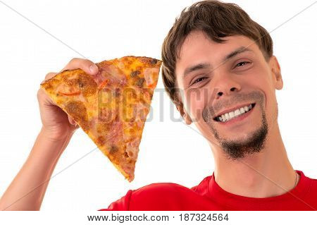 handsome smiling man with slice pizza isolated on white background