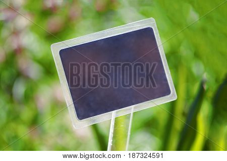 Nameplate on the background of a blurry bokeh grass.
