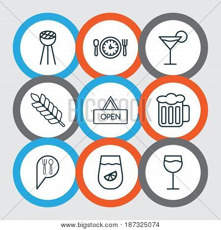 Set Of 9 Meal Icons. Includes Wheat, Cocktail, Meal Hour And Other Symbols. Beautiful Design Elements.