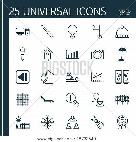 Set Of 25 Universal Editable Icons. Can Be Used For Web, Mobile And App Design. Includes Elements Such As Eating, Personal Computer, Wheat And More.