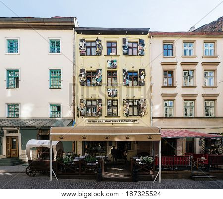 Lviv Ukraine - September 21 2016: Facade of Lviv Handmade Chocolate Factory in historic city centre. Old Town of Lviv and tourist attraction.