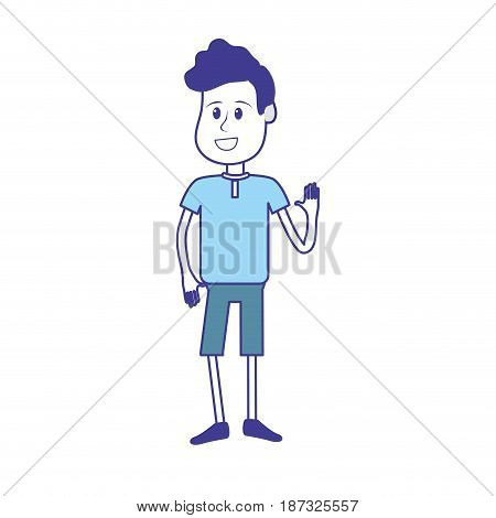 nice boy with hand up and casual wear, vector illustration