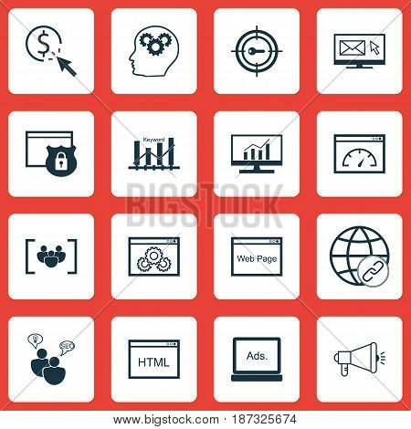 Set Of 16 SEO Icons. Includes Connectivity, Security, Media Campaign And Other Symbols. Beautiful Design Elements.