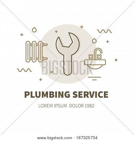 Plumbing service concept design illustration and logo of wrench