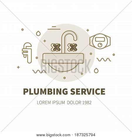 Plumbing service concept design illustration and logo of sink basin with faucet