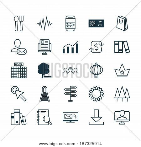 Set Of 25 Universal Editable Icons. Can Be Used For Web, Mobile And App Design. Includes Elements Such As Coaching, Traditional Lamp, Heartbeat And More.