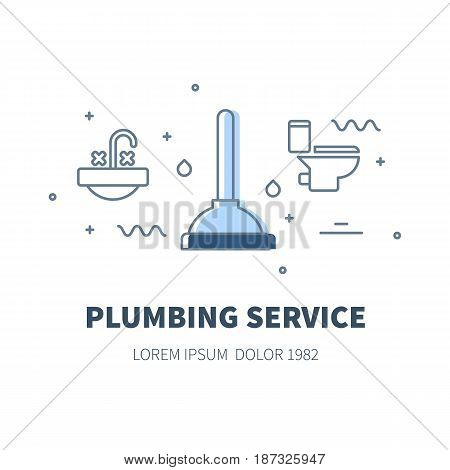 Plumbing service concept design illustration and logo of plunger