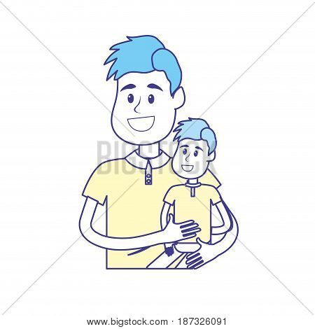 nice father carrying his son in the hands, vector illustration