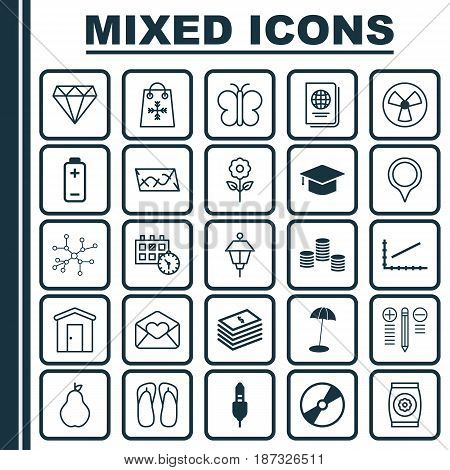 Set Of 25 Universal Editable Icons. Can Be Used For Web, Mobile And App Design. Includes Elements Such As Route, Identification Document, Cd-Rom And More.