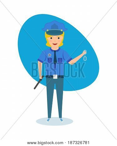 Children choose a profession. The child in the form of a policeman and the appropriate equipment, presents himself as a human rights activist. Modern vector illustration isolated on white background.