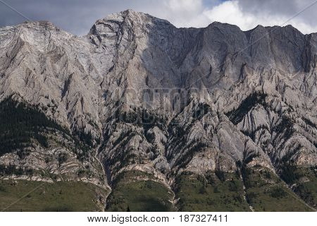 The toothy details of a mountain in Kananaskis country.