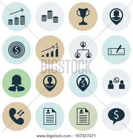 Set Of 16 Human Resources Icons. Includes Business Goal, Employee Location, Money Navigation And Other Symbols. Beautiful Design Elements.