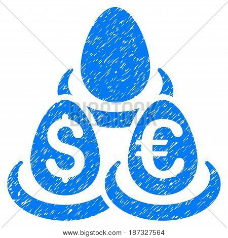 Grunge Currency Deposits icon with grunge design and scratched texture. Unclean vector blue pictogram for rubber seal stamp imitations and watermarks. Draft emblem symbol.