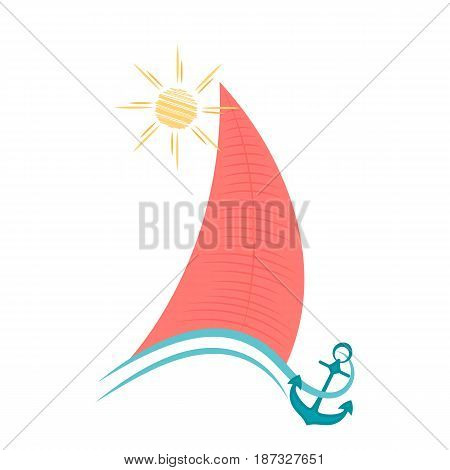 Sailboat on waves with an anchor. Maritime concept.
