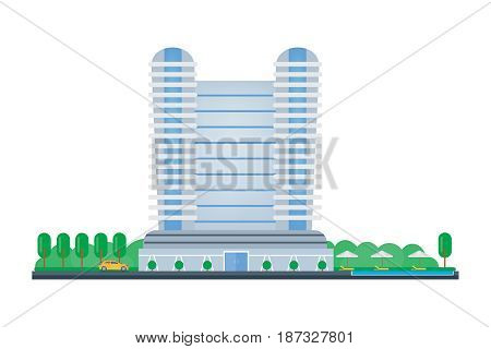 Hotel building, room reservation, exterior and interior of the building, rest in the modern hotel center. Modern vector illustration isolated on white background.