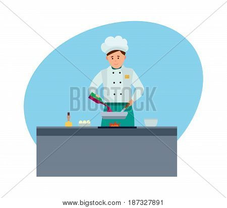 Staff of hotels. A young chef in branded clothes, in a modern hotel, prepares delicious meals on fire in kitchen. Modern vector illustration isolated on white background.