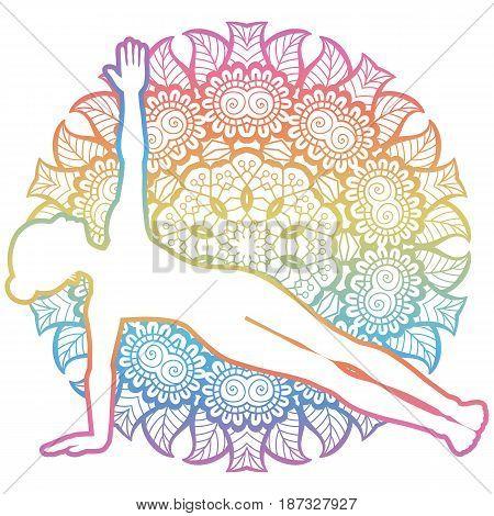 Mandala round background. Extended side plank yoga pose. Vasisthasana. Vector illustration