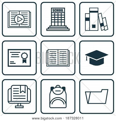 Set Of 9 Education Icons. Includes Academy, Taped Book, Document Case And Other Symbols. Beautiful Design Elements.