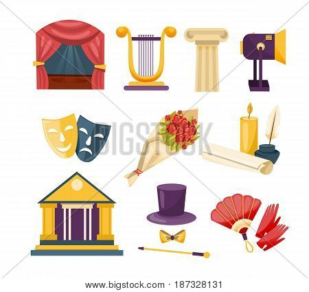 Set of theatrical performance icons. Interior, equipment, belongings, masks, theater building, searchlight, arches, clothing attributes. Modern vector illustration isolated on white background