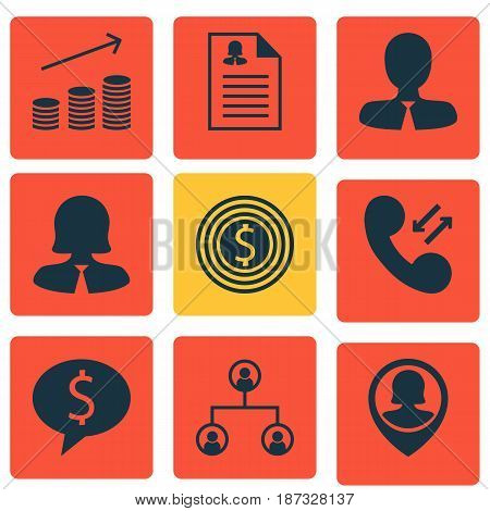 Set Of 9 Human Resources Icons. Includes Cellular Data, Coins Growth, Business Deal And Other Symbols. Beautiful Design Elements.