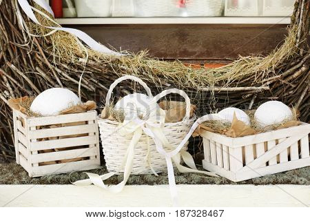 Decor of flower shop for Easter holiday