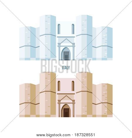 World sights. Architectural building of Castel del Monte, located on a small hill near Adria in Italy. Modern vector illustration isolated on white background.