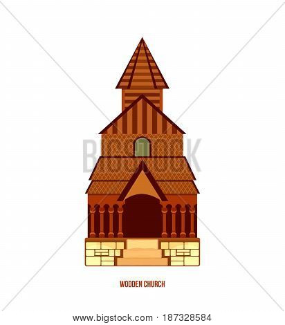 World sights. Architectural building, Urnes stave church, typical norwegian wooden church - part of Unesco, Norway. Europe travel. Modern vector illustration isolated on white background.