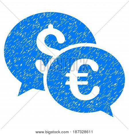 Grunge Currency Transactions icon with grunge design and dust texture. Unclean vector blue pictogram for rubber seal stamp imitations and watermarks. Draft sticker symbol.
