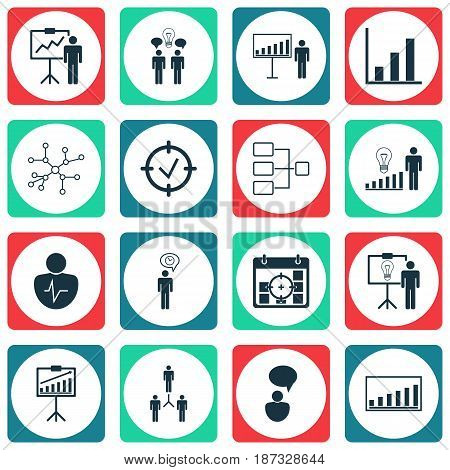 Set Of 16 Authority Icons. Includes Decision Making, Special Demonstration, Bar Chart And Other Symbols. Beautiful Design Elements.